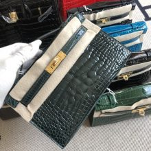 Stock Hermes 6O Vert Cypress Alligator Crocodile Minikelly Pochette22CM Gold Hardware