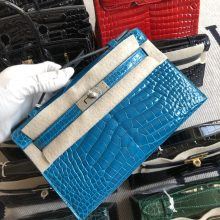 Stock Hermes 7W Blue Izmir Shiny Crocodile Minikelly Pochette22CM Silver Hardware