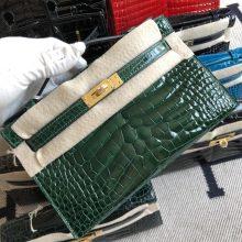 Stock Hermes Alligator Crocodile Minikelly Evening Bag in CK67 Vert Fonce Gold Hardware