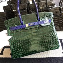 Customize Hermes Shiny Crocodile Birkin30CM Bag CK67 Vert Fonce/7T Blue Electric