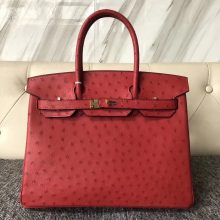 Pretty Hermes KK Ostrich Birkin30CM Bag Rouge Casaque Gold Hardware
