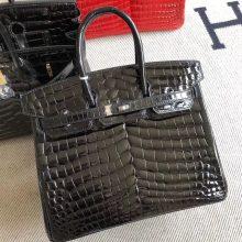 Stock Hermes CK89 Noir Shiny Crocodile Birkin25CM Bag Silver Hardware