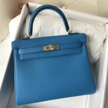 Stock Hermes Togo Calf Kelly25CM Bag B3 Blue Zanzibar Gold Hardware