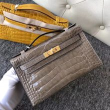 Fashion Hermes CK81 Gris T Shiny Crocodile Minikelly22CM Clutch Bag Gold Hardware