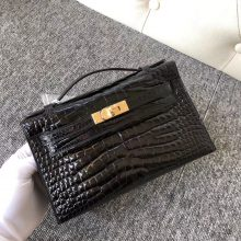 Noble Hermes CK89 Noir Shiny Crocodile Minikelly Pochette22CM Gold Hardware