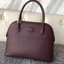 New Hermes CK57 Bordeaux Epsom Calf Bolide27CM Tote Bag Gold Hardware
