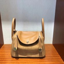 Stock Hermes Gold Suede/Swift Leather Lindy Bag26CM Gold Hardware