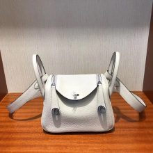Customize Hermes Togo Calf Gris Glacier Mini Lindy20CM Bag Specil Black Edge