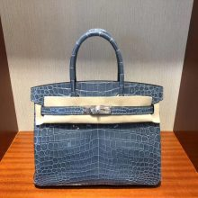 Luxury Hermes Shiny Crocodile Birkin Bag30CM in CK75 Blue Jean Silver Hardware