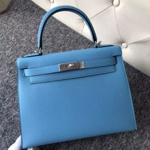Stock Hermes P3 Blue de Nord Epsom Calf Kelly28CM Bag Gold/Silver Hardware