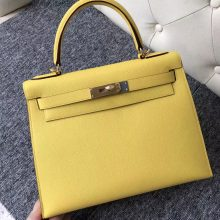 Stock Hermes 9O Jaune De Naples Epsom Calf Kelly28CM Bag Gold/Silver Hardware