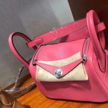 New Hermes Swift Calf Mini Lindy Bag19CM in Rose Lipstick Silver Hardware