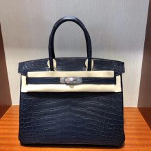 Customize Hermes 73 Blue Indgo Matt Crocodile Birkin30cm Bag Silver Hardware