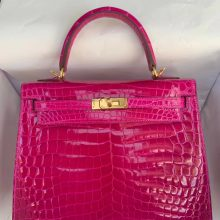 Luxury Hermes J5 Rose Scheherazade Crocodile Shiny Kelly25CM Bag Gold Hardware