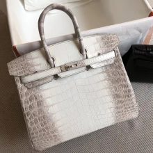 Elegant Hermes Himalaya Crocodile Leather Birkin Bag25cm Silver Hardware