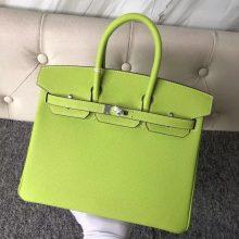 Stock Hermes 9R Apple Green Epsom Calf Birkin Bag25CM Silver Hardware