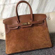 Customize Hermes Gold Suede/Bareniz Leather Birkin35CM Bag Gold Hardware