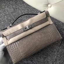 Stock Hermes Shiny Crocodile CK81 Gris T Minikelly Pochette 22CM Silver Hardware