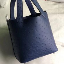 Customize Hermes Blue Saphir KK Ostrich Picotin18CM Silver Hardware