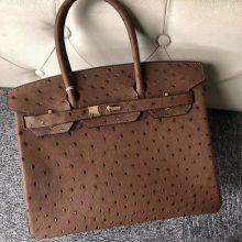 Customize Hermes Chocolate KK Ostrich Birkin30cm Bag Gold Hardware