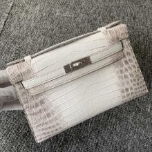 Customize Hermes Himalaya Crocodile Leather Minikelly Pochette 22CM Silver Hardware