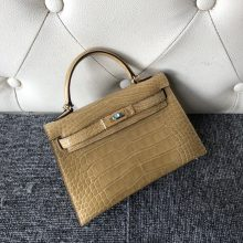 New Hermes Apricot Shiny Crocodile Minikelly-2 Evening Bag Gold Hardware
