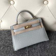 Hand Stitching Hermes CK80 Gris Peal Matt Crocodile Minikelly-2 Clutch Bag18cm