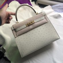 Elegant Hermes 3C Wool White KK Ostrich Kelly28CM Bag Gold Hardware