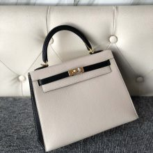 Stock Hermes Craie White/Noir Chevre Leather Kelly Bag25cm Gold Hardware