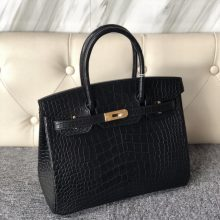 Stock Hermes CK89 Noir Matt Crocodile Birkin Bag30cm Gold Hardware