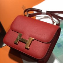 Discount Hermes Q5 Rouge Casaque Epsom Calf Constance24cm Bag Gold Hardware