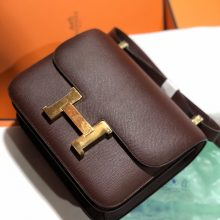 Pretty Hermes Epsom Calf Constance24cm Bag CK57 Bordeaux Gold Hardware