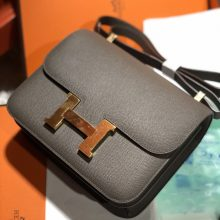 Noble Hermes Epsom Calf Constance24cm Bag in 8F Gris Etain Gold Hardware