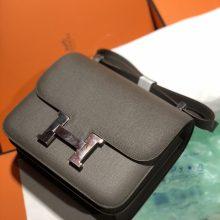 Elegant Hermes 8F Gris Etain Epsom Calf Constance Bag24CM Silver Hardware
