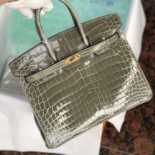 Stock Hermes CK81 Gris T Shiny Crocodile Birkin25cm Bag Gold Hardware