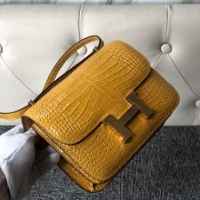 Luxury Hermes 9D Ambre Yellow Shiny Crocodile Constance Bag18cm Gold Hardware