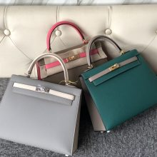 Stock Hermes Multi-color Epsom Calf Kelly25cm Bag Gold/Silver Hardware