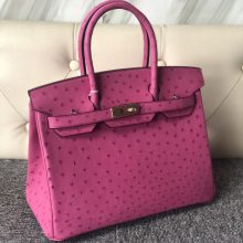 Fashion Hermes E5 Hot Pink KK Ostrich Birkin Bag30cm Gold Hardware