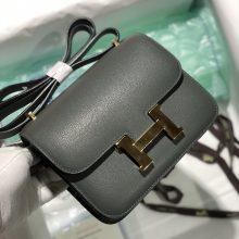 Customize Hermes Evercolor Constance18cm Bag CC63 Vert Amande Gold Hardware