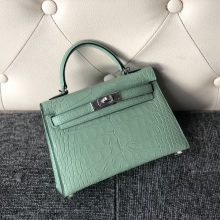 Stock Hermes Mint Green Matt Crocodile Minikelly-2 Clutch Bag Silver Hardware