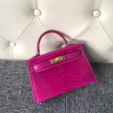 Hermes Shiny Crocodile Minikelly-2 Evening Bag in J5 Rose Scheherazade Gold Hardware