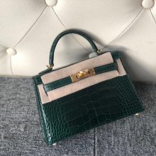 Stock Hermes Shiny Crocodile CK67 Vert Fonce Minikelly-2 Bag Gold Hardware