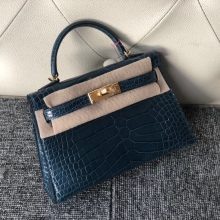 Stock Hermes Royal Blue Shiny Crocodile Minikelly19cm Clutch Gold Hardware