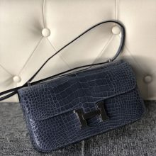 Customize Hermes N7 Blue Tempete Shiny Crocodile Constance26cm Bag