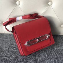 Stock Hermes Evecolor Roulis Bag18CM S5 Rouge Tomato Silver Hardware