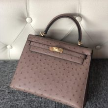 Stock Hermes Mousse Grey KK Ostrich Kelly25cm Bag Silver Hardware