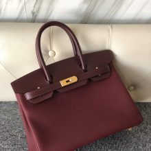 Customize Hermes CK55 Rouge Hermes Togo/Box Calf Birkin30cm Gold Hardware