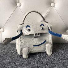 Customize Hermes 8L Beton/Blue Mykonos Matt Crocodile Kelly Doll Bag Silver Hardware
