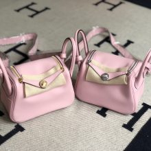 Stock Hermes 3Q Rose Sakura Swift Calf Mini Lindy19cm Gold/Silver Hardware