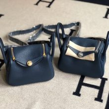 Stock Hermes S4 Deep Blue TC Calf Mini Lindy Bag19cm Gold/Silver Hardware